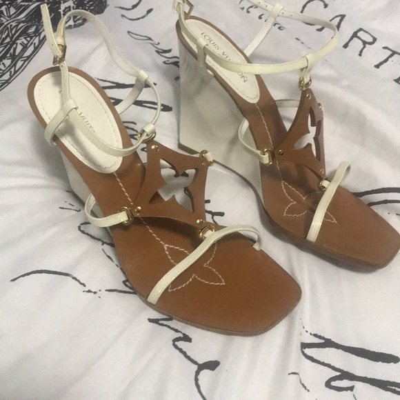 7cbdaf25a51b Louis Vuitton Shoes - Louis Vuitton White Patent Leather Wedge Sandals